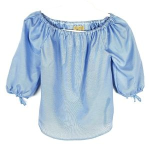 Anthropologie Tops - Love Notes Off Shoulder Blue Striped Top Small